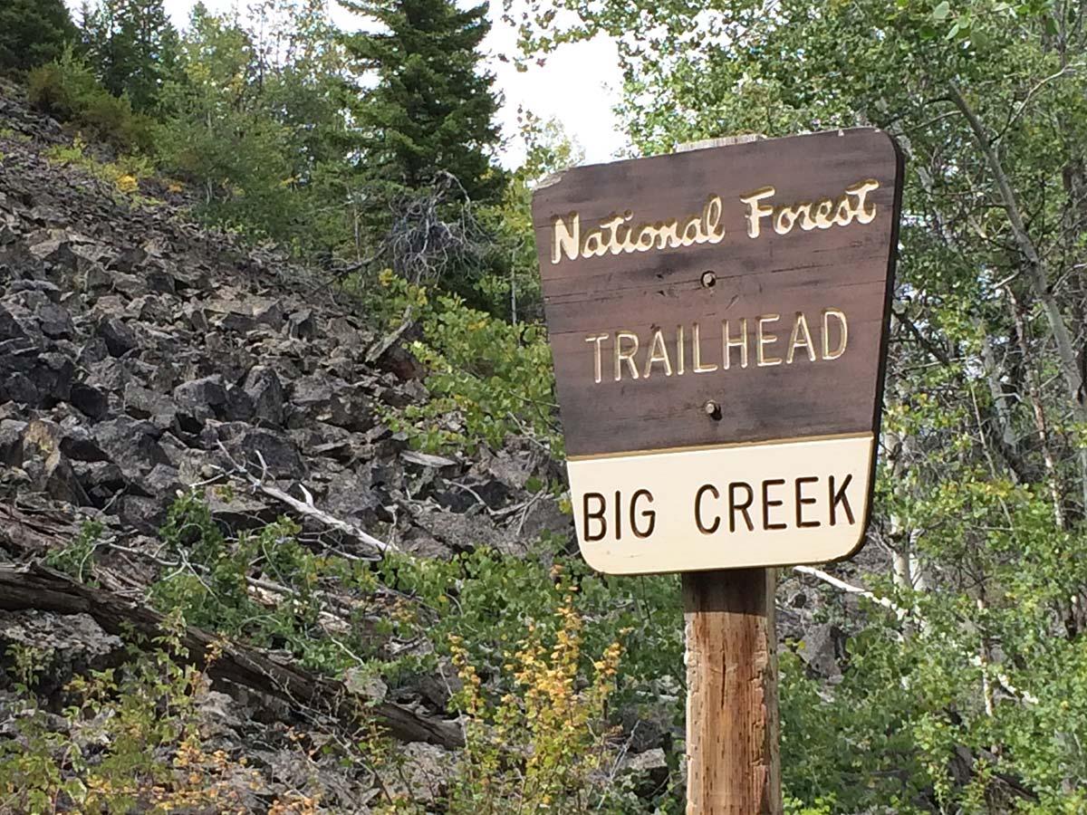 Big Creek National Forest Service sign